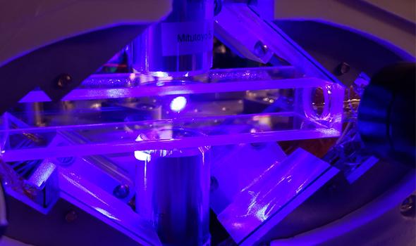 Magneto-optical trap of strontium inside vacuum cell